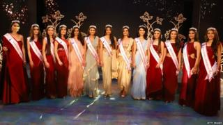 Participants at the fbb Colors Femina Miss India East 2019 on April 23,2019 in Kolkata,India.