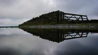Gate reflected in a pool of water