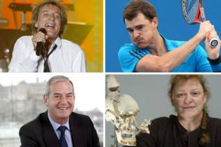 Clockwise from top left, Rod Stewart, Jamie Murray, Lord Smith and Prof Sue Black