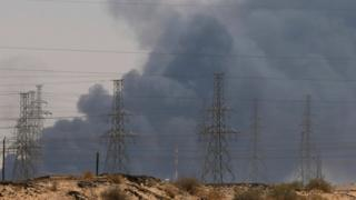 Smoke after attack on Aramco's oil plant in Saudi Arabia