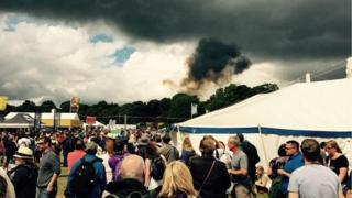 image of the scene of a plane crash in Cheshire