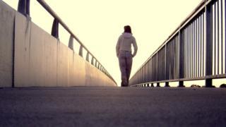 Girl walks alone