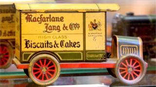 Macfarlane Lang toy lorry biscuit tin