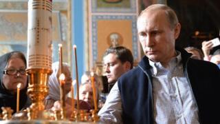 2016年普京參觀瓦爾拉姆修道院