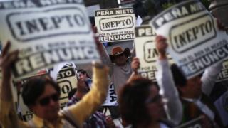 Manifestantes con pancartas solicitando la renuncia de Peña Nieto.