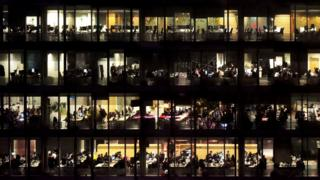 Office workers at night