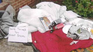 Possessions left outside a house