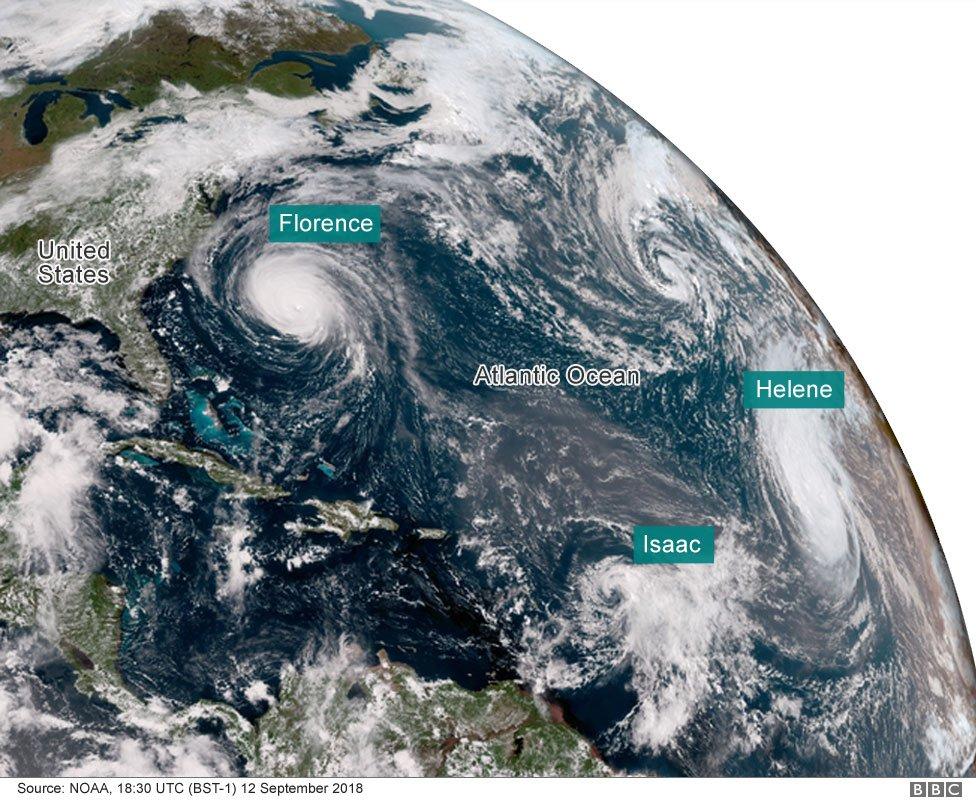 Satellite image of Hurricane Florence, Isaac and Helene