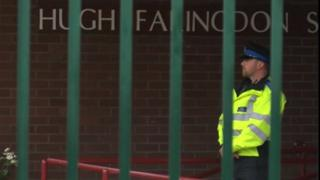 Police officer outside Blessed Hugh Faringdon School
