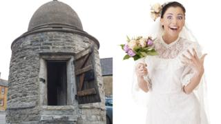 A composite image of a shocked bride and Castle Cary's Round House