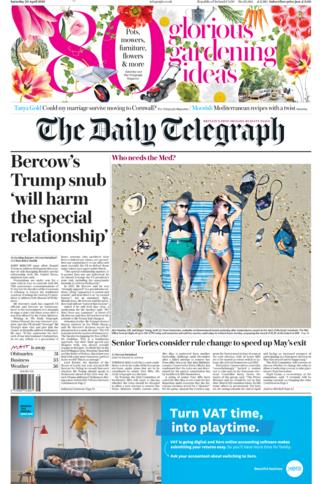 Telegraph front page 20/04/19
