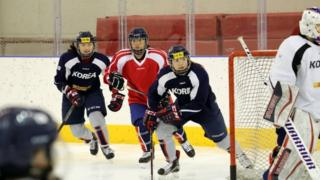 North and South athletes practise in Jincheon, South Korea