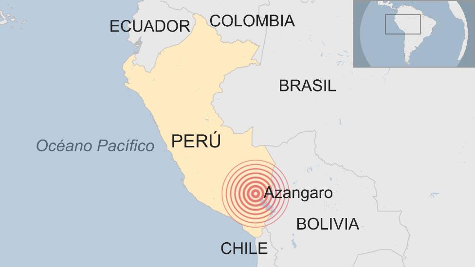 Mapa situando el epicentro del terremoto.