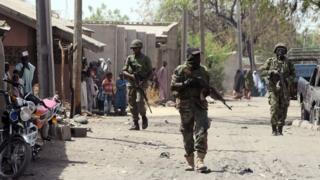 Nigerian soldiers patrol the streets of the town of Baga, Borno state. File photo