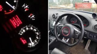 Speeding car and speedometer
