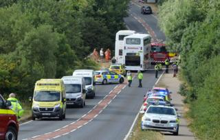 Double-decker school buses collision at Rothwell