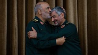محمدعلی جعفری و حسین سلامی در مراسم معارفه رئیس جدید سپاه پاسداران