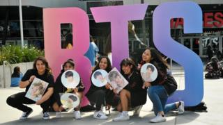 "Fans Await The BTS Concert At Staples Center As Part Of The ""Love Yourself"" North American Tour"