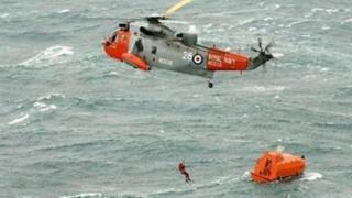 Helicopter and lifeboat