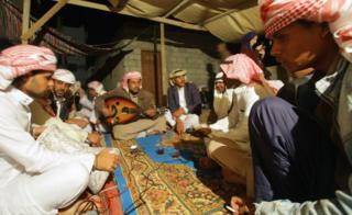 A man playing an instrument at a Bedouin wedding in St Catherine, Egypt - Friday 19 October 2018