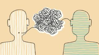Graphic of two people with tangled conversation