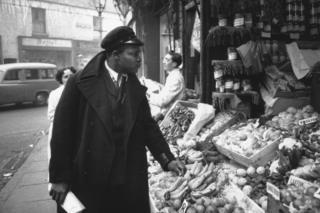 Rue Gordon, a bus conductor, seen in Birmingham in 1955