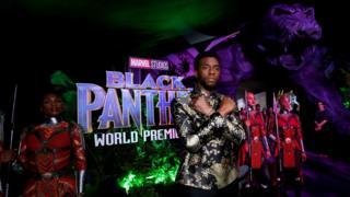 Aktor Chadwick Boseman saat pemutaran perdana film Black Panther di California, AS, 29 Januari 2018.