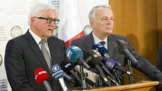 German Foreign Minister Frank-Walter Steinmeier (left) and his French counterpart Jean-Marc Ayrault in Tripoli, Libya. Photo: 16 April 2016