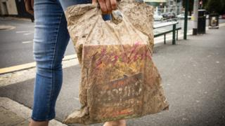 A plastic bag submerged in soil for three years
