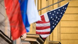 Прапори Росії і США