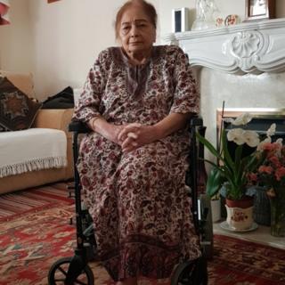 Saroj Seth in wheelchair