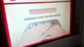 Welsh language instructions on cash machine