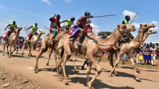 Participants attend a professional camel race during the 29th edition of the Maralal International Camel Derby at Maralal, Samburu County, Northern Kenya on September 2, 2018. -