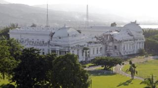 The Presidential Palace in Port-au-Prince, Haiti, pictured in January 2010, showing the collapsed roof