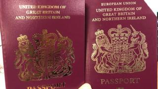 "A comparison of UK passports with and without the words ""European Union"""