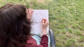 Maria Merridan sketching