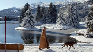 A woman walking her dog by a Swiss lake