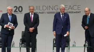 Bertie Ahern, Tony Blair, Bill Clinton and George Mitchell