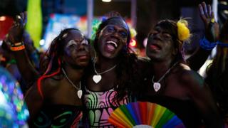 Members of the Tiwi Islands aboriginal transgender community attend the Sydney Gay and Lesbian Mardi Gras parade on March 4, 2017 in Sydney, Australia.
