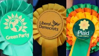 Rosettes of Greens, Liberal Democrats and Plaid Cymru