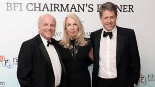 Hugh Grant (right) with Greg Dyke and Amanda Nevill