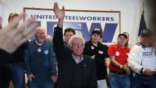 Bernie Sanders at a campaign event with United Steelworkers Local 310L