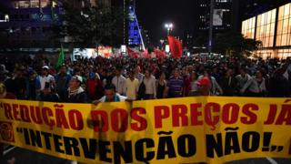 Protests against high fuel and cooking gas costs took place in front of the Petrobras oil company headquarters in Sao Paulo, Brazil on May 30, 2018