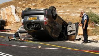 Scene of attack on car neat Otniel (01/07/16)