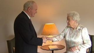 Deputy First Minister Martin McGuinness greets the Queen