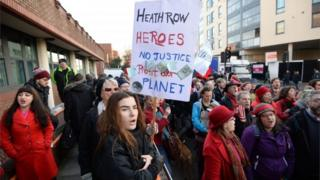 Supporters of the 13 convicted protesters were outside court in north London