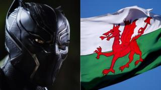 Black Panther and Wales flag