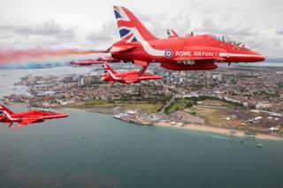 The Red Arrows flying in the air