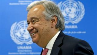 United Nations Secretary-General Antonio Guterres leaves after a news conference in Kabul, Afghanistan
