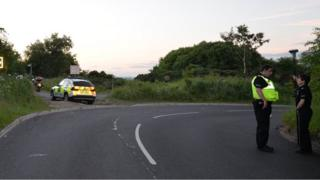 Police at the scene of the crash
